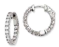 Sterling Silver Inside/Outside Cubic Zirconia Hinged Hoop Earrings