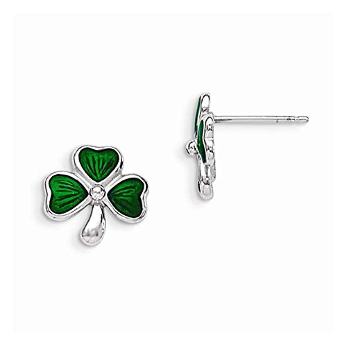 Sterling Silver Green Enamel Shamrock Clover Post Stud Earrings
