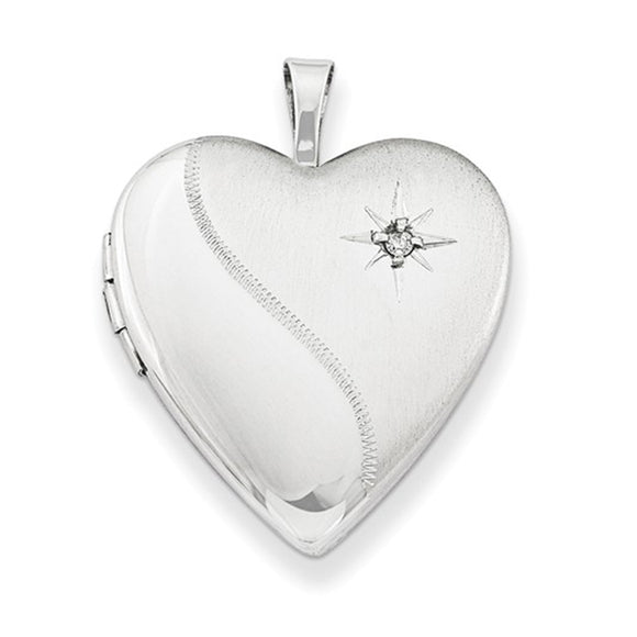 Sterling silver heart-shaped locket pendant with embedded diamond