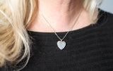 Sterling Silver Rhodium-Plated 20mm Diamond Heart Locket Pendant Necklace, w/18-Inch Chain - LooptyHoops