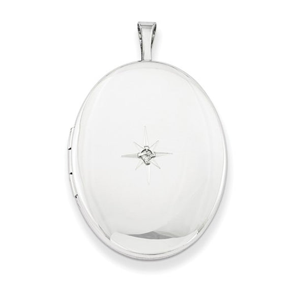 Sterling Silver Rhodium-Plated Diamond 26mm Oval Locket Pendant Necklace, w/18-Inch Chain