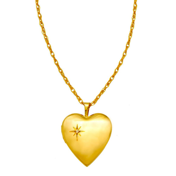 14K yellow gold heart-shaped locket pendant with embedded diamond