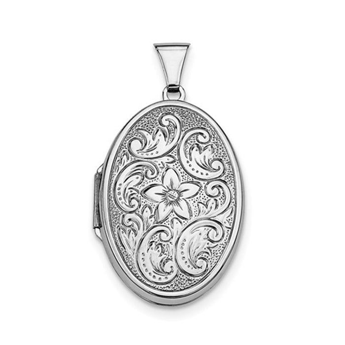 Sterling Silver Rhodium-Plated Etched Oval Locket Pendant, 33mm x 22mm - LooptyHoops