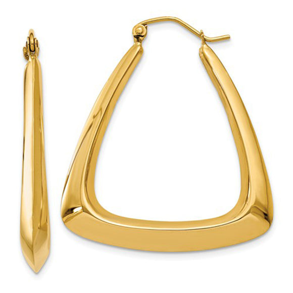 14k Yellow Gold Triangle-Shaped Hoop Earrings with Click-Down Clasp