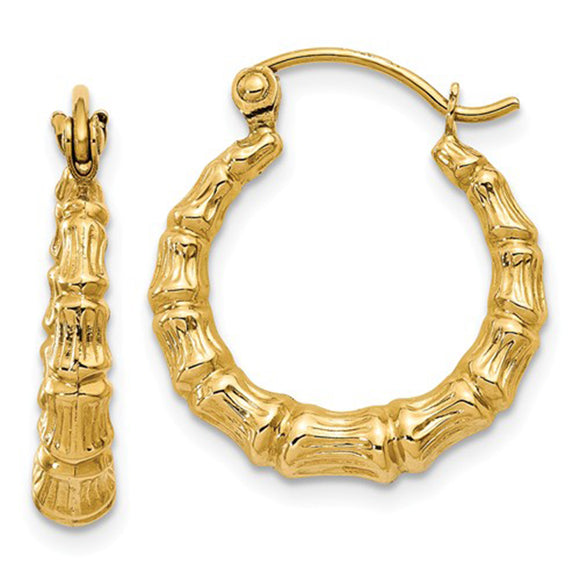 14k Yellow Gold Bamboo Hoop Earrings, All Sizes