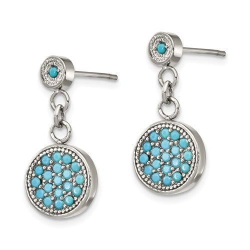 Stainless Steel Turquoise Post-Back Dangle Earrings, 20mm