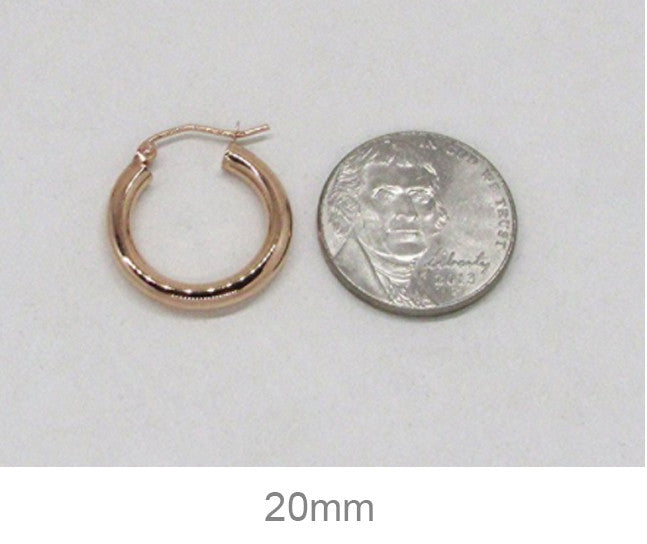 14K Rose Gold Hoop Earrings with Click-Top Clasp (3mm), All Sizes - LooptyHoops