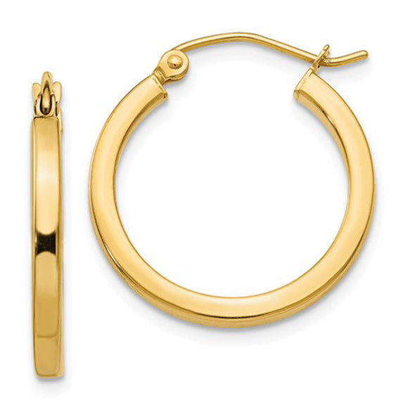 14k yellow gold square-tube hoop earrings with click-down clasp