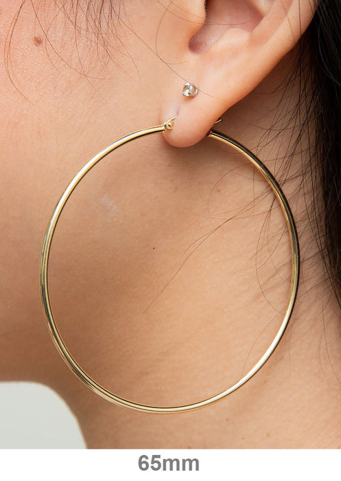 14K Yellow Gold 2MM Round Hoop Earrings Snap Closure 3.15 Inches Extra Large