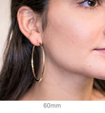 Large 14K Yellow Gold Lightweight Tube Hoop Earrings, (2.5mm Tube) All Sizes