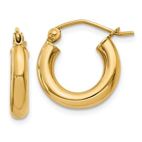 14k Yellow Gold Lightweight Hoop Earrings (3mm), All Sizes