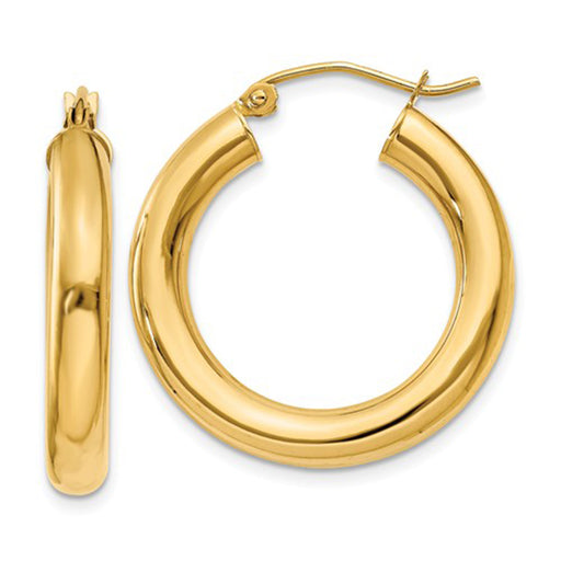 14k Yellow Gold Lightweight Tube Hoop Earrings (4mm), All Sizes - LooptyHoops