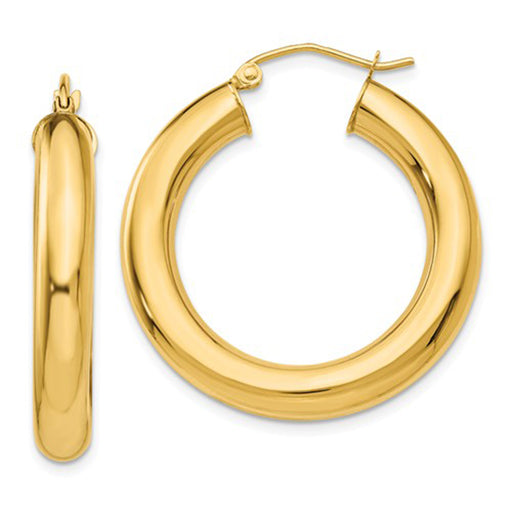 14K Yellow Gold Lightweight Tube Hoop Earrings (5mm), All Sizes - LooptyHoops