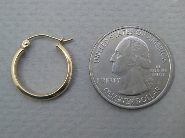 14k Yellow Gold Click-down Hoop Earrings (2.75mm), All Sizes