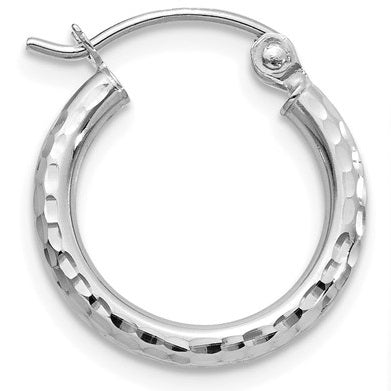 14k White Gold Diamond Cut Hoop Earrings with Click-Down Clasp