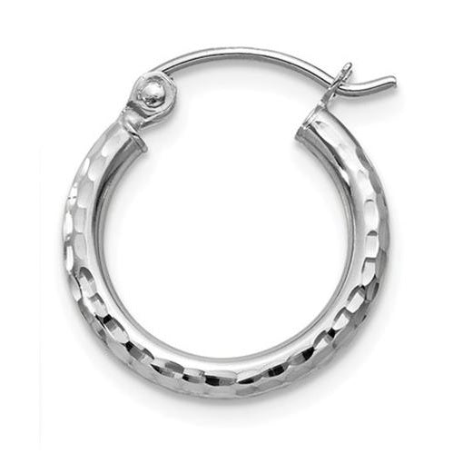 Single 14k White Gold Diamond Cut Hoop Earring (2mm) (13mm)