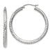 14k White Gold Diamond Cut Hoop Earrings (3mm), All Sizes - LooptyHoops