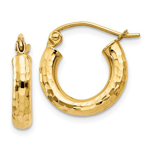 14k Yellow Gold Diamond Cut Click-down Hoop Earrings (3mm), All Sizes