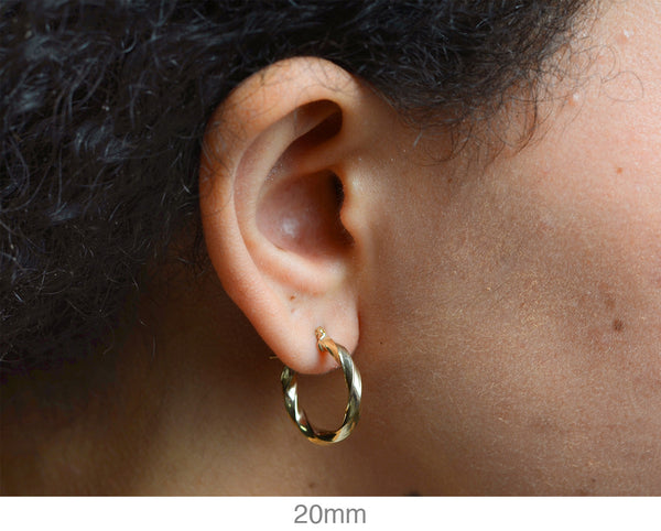 14k Yellow Gold Twisted Taffy Hoop Earrings (3mm), All Sizes