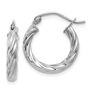 14k White Gold Twisted Hoop Earrings (3.25mm), All Sizes