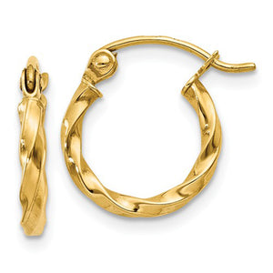 14k Yellow Gold Twisted Taffy Hoop Earrings (2mm), All Sizes
