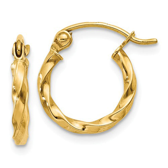 14k Yellow Gold Twisted Hoop Earrings with click-down clasp
