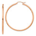 14k Rose Gold Click-Down Classic Hoop Earrings (2mm), All Sizes - LooptyHoops
