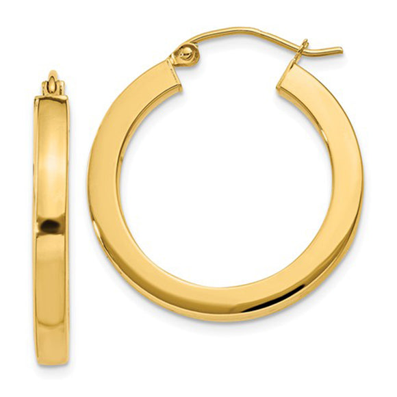 14k Yellow Gold Square Tube Hoop Earrings (3mm), All Sizes