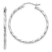 14k White Gold Twisted Taffy Hoop Earrings (2mm), All Sizes - LooptyHoops