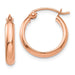 14k Rose Gold Flat Interior Hoop Earrings (2.75mm), 0.6 inch (15mm) - LooptyHoops