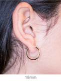 Small 14K Rose Gold Tube Hoop Earrings with Flat Interior, 18mm (2.75mm Tube)