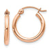 14K Rose Gold Lightweight Click-down Hoop Earrings, .60 Inches (15mm) (2mm) - LooptyHoops