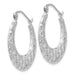 "14k White Gold Diamond Cut & Satin Half Moon Hoop Earrings (4mm), 1.00"" (26 mm) - LooptyHoops"