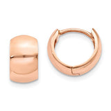 14K Rose Gold Wide Tube Hoop Earrings with hinged-post closure