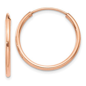 14k Rose Gold Endless Hoop Earrings with continuous closure