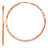 14k Rose Gold Continuous Endless Hoop Earrings (1.5mm), All Sizes - LooptyHoops