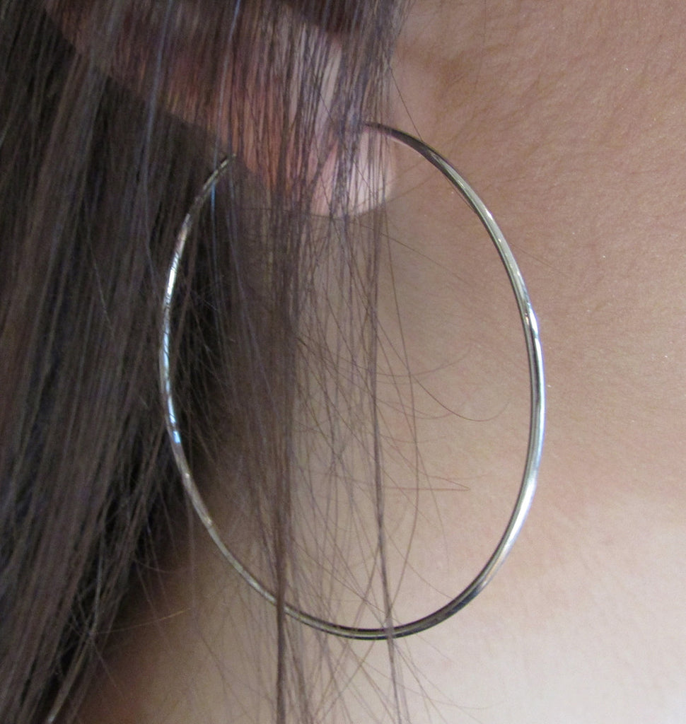 14k White Gold Endless Hoop Earrings (12mm), 22 Inch (55mm)