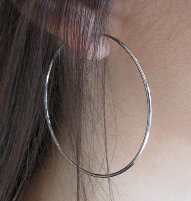 14k White Gold Endless Hoop Earrings (1.2mm), 2.2 inch (55mm) - LooptyHoops