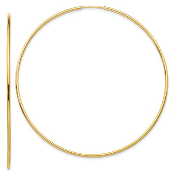14k Yellow Gold Endless Hoop Earrings (1.2mm Tube), Extra Large Sizes - LooptyHoops