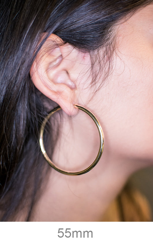 39a6b7d8ca85c Large 14K Yellow Gold Thick Continuous Endless Hoop Earrings, 55mm (3mm  Tube)