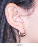 Small 14K Rose Gold Thick Tube Hoop Earrings, 16mm (3mm Tube)