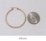 14K Rose Gold Diamond Cut Tube Hoop Earrings, 1.6 Inches (40mm) (2mm Tube)