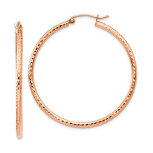14K Rose Gold Diamond Cut Hoop Earrings with click-down clasp