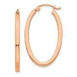 14k Rose Gold Square-Tube Oval Hoop Earrings with click-down clasp