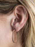 14K Rose Gold Oval Hoop Earrings w/ Square Tube, 1.2 In (31mm) (2mm Tube) - LooptyHoops