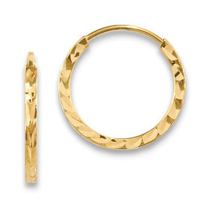 14K Yellow Gold Diamond Cut Square Tube Endless Hoop Earrings