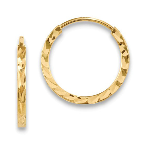 14K Yellow Gold Diamond Cut Square Tube Hoop Earrings with Endless Closure
