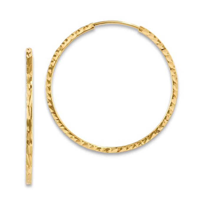 14K Yellow Gold Diamond Cut Square Tube Continuous Endless Hoop Earrings (1.35mm), All Sizes - LooptyHoops