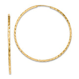 14K Yellow Gold Diamond Cut Square Tube Continuous Endless Hoop Earrings (1.35mm), All Sizes