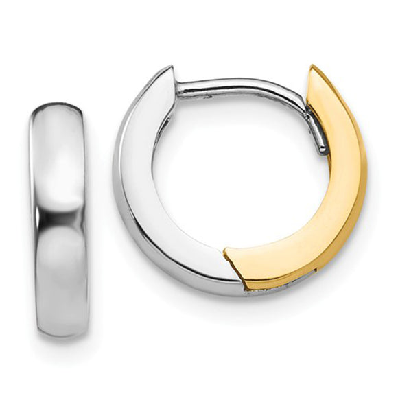Small 14k white gold/yellow gold two-tone hinged hoop earrings